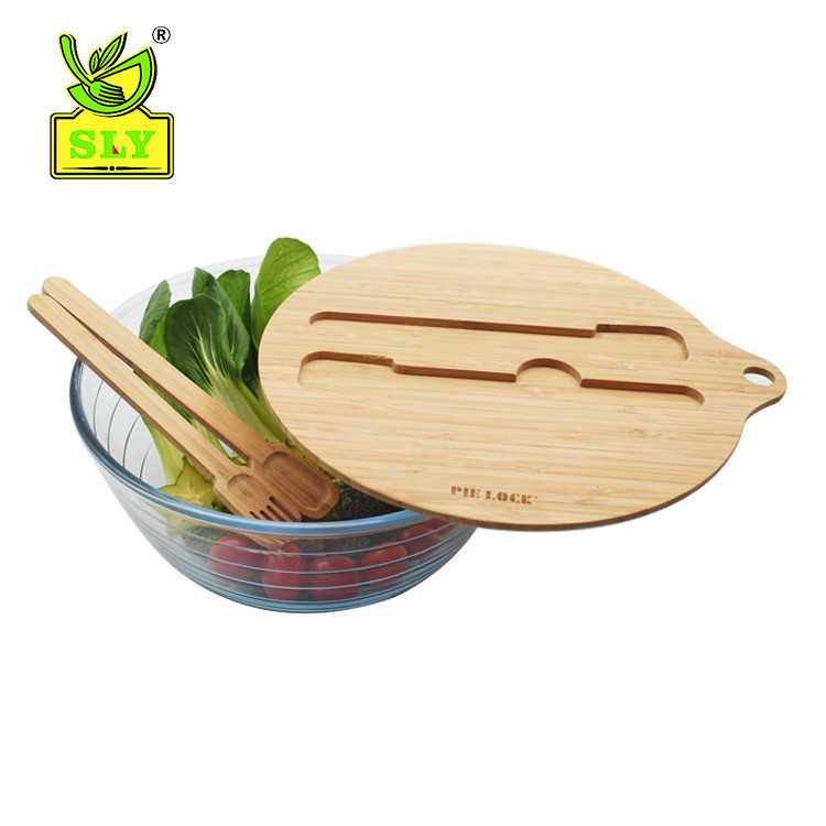 New designed glass mixing bowl for fruit vegetable bamboo lid cutlery